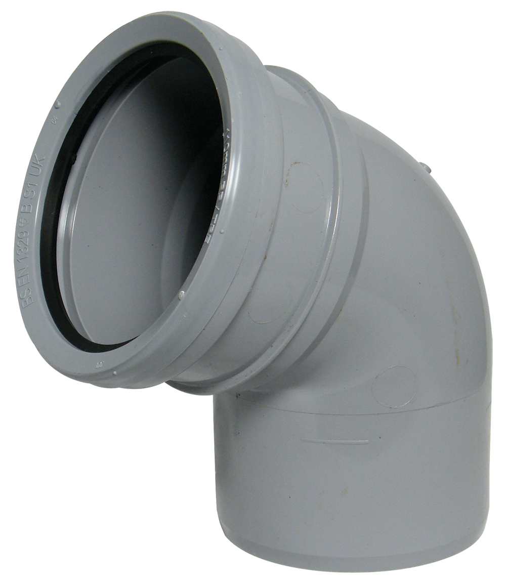 FloPlast 110mm Soil 112.5° Bend - Single Socket